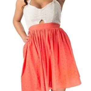 Flying Tomato halter dress pink coral eyelet lace